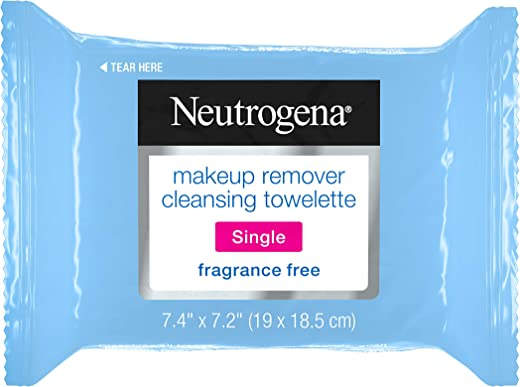 Neutrogena Fragrance-Free Makeup Remover Cleansing Towelette Singles, Individually-Wrapped Daily Face Wipes to Remove Dirt, Oil, Makeup & Waterproof Mascara for Travel & On-the-Go, 20 ct (Pack of 6)