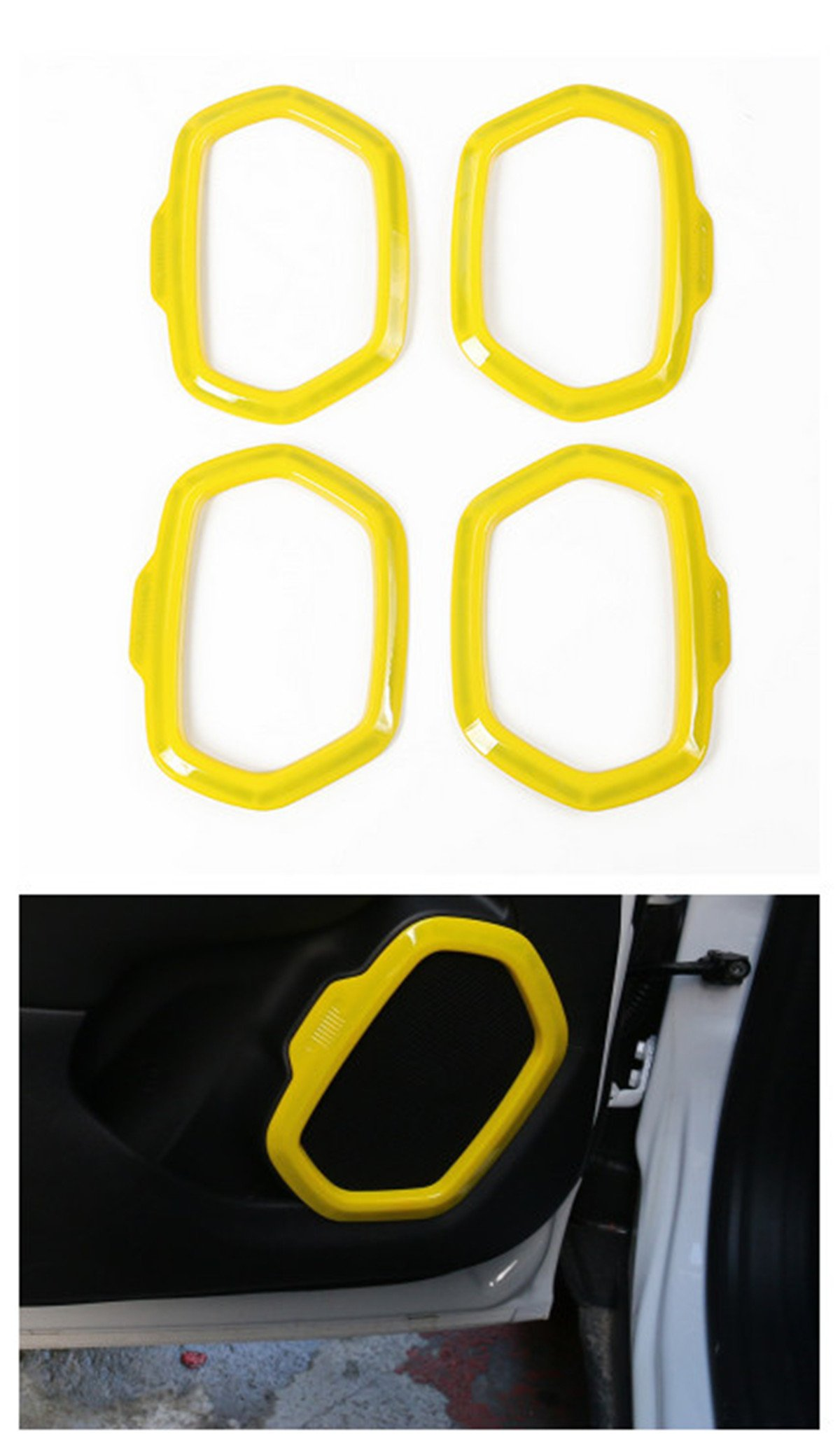 Dwindish Yellow ABS Interior Car Door Sound Speaker Audio Ring Cover Trim for Jeep Renegade 2015-2017