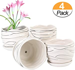Plant pots - 5.3-inch cylindrical ceramic Planters with connected Saucer, round modern ceramic garden pots - succulent medium-sized plant pots Set of 4 (Thread)
