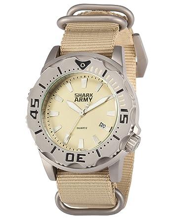 SHARK ARMY Men s SAW194 Analog Japanese Quartz Date Waterproof Nylon Band  Wrist Watch 25cc1480b7