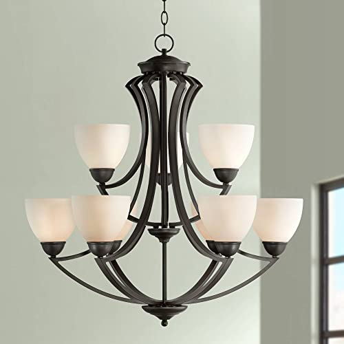 Milbury Dark Bronze Chandelier 30 Wide Two Tier White Frosted Glass 9-Light Fixture for Dining Room House Foyer Kitchen Island Entryway Bedroom Living Room – Possini Euro Design