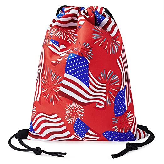 TUONROAD Large Individual Drawstring Backpack Patriotic American USA Flag  Navy Blue White Stars Red Stripes Fireworks 9e154a9ae61b9