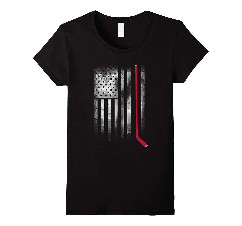 hockey stick america flag usa destroyed team T-shirt
