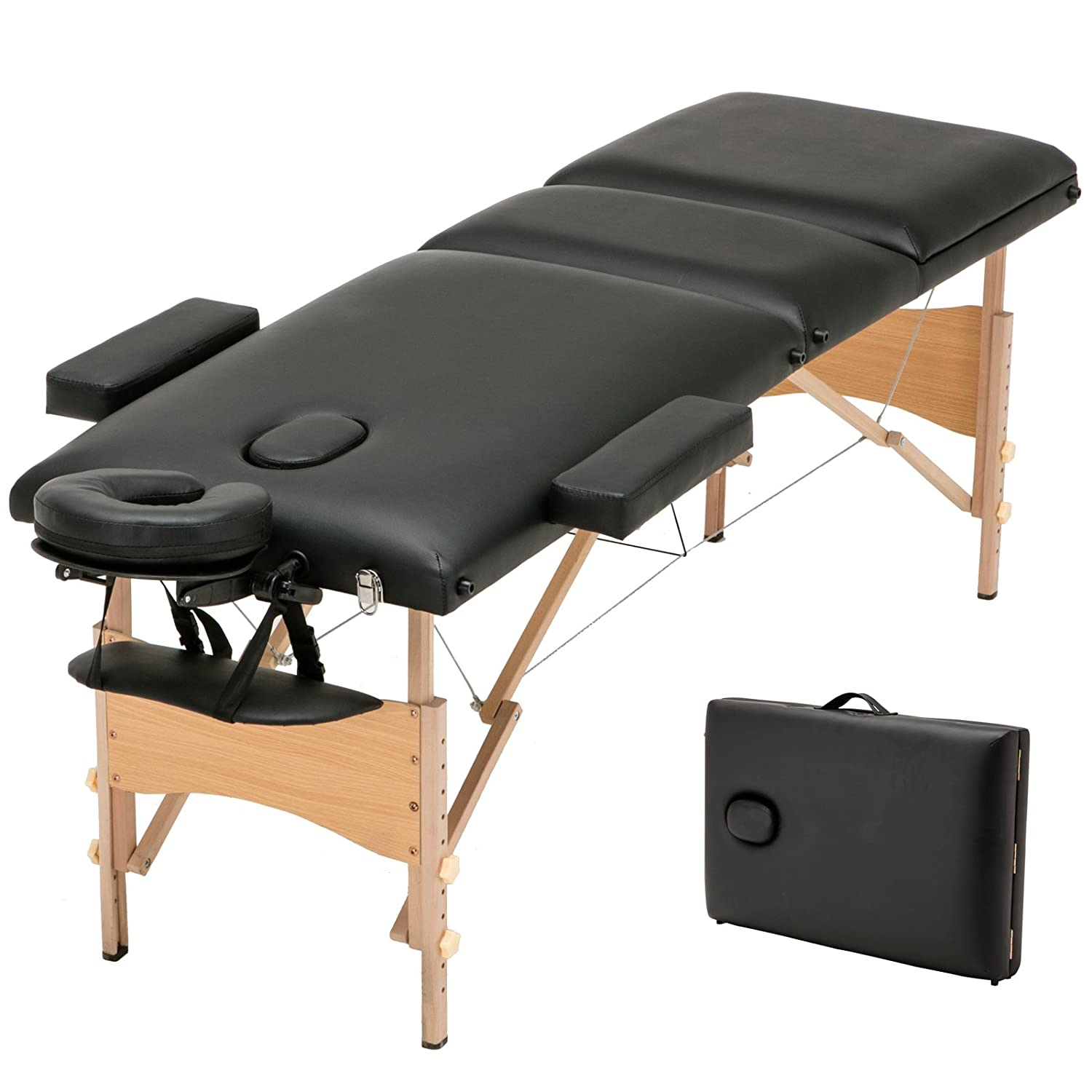 SUNCOO Portable Massage Table Folding Facial Bed Lightweight Wood Frame with Carrying Case, 3 Fold Design, Including Sheet& 2 Bolsters& Cradle& Hanger Black