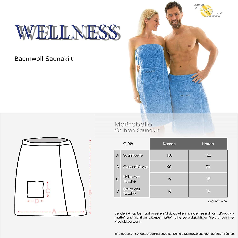 aqua-textil Wellness Saunakilt Herren 70 x 160 cm anthrazit Baumwolle Saunasarong Frottee Kilt kurzer Schnitt 1001099
