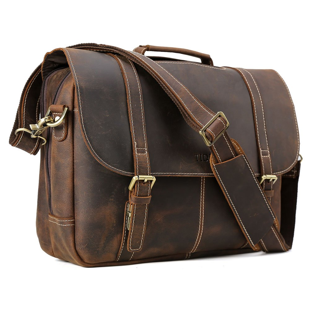 Tiding Leather 15.6 inch Laptop Bag Briefcase With Detachable Padded Laptop Sleeve