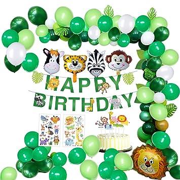 Mmtx Jungle Décorations Anniversaire Garcon Enfant Bannière Joyeux Anniversaire Avec Feuilles De Palmier Latex Ballons Et Safari Forest Animaux