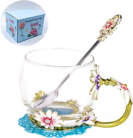Amazon Com Wranko Glass Tea Cups Set Enamelled Tea Mug With Enamel Spoon And Handle Handmade Flower Daisy Decoration Porcelain Lead Free Teacups Coffee Drinking Mugs Festival Gift Ideas 11oz Teacups