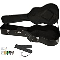 ChromaCast Acoustic Guitar Hard Case CC-AHC with Guitar Strap and Pick Sampler