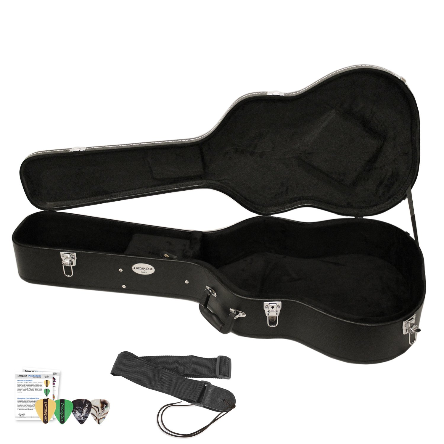 ChromaCast Acoustic Guitar Hard Case CC-AHC with Guitar Strap and Pick Sampler by ChromaCast