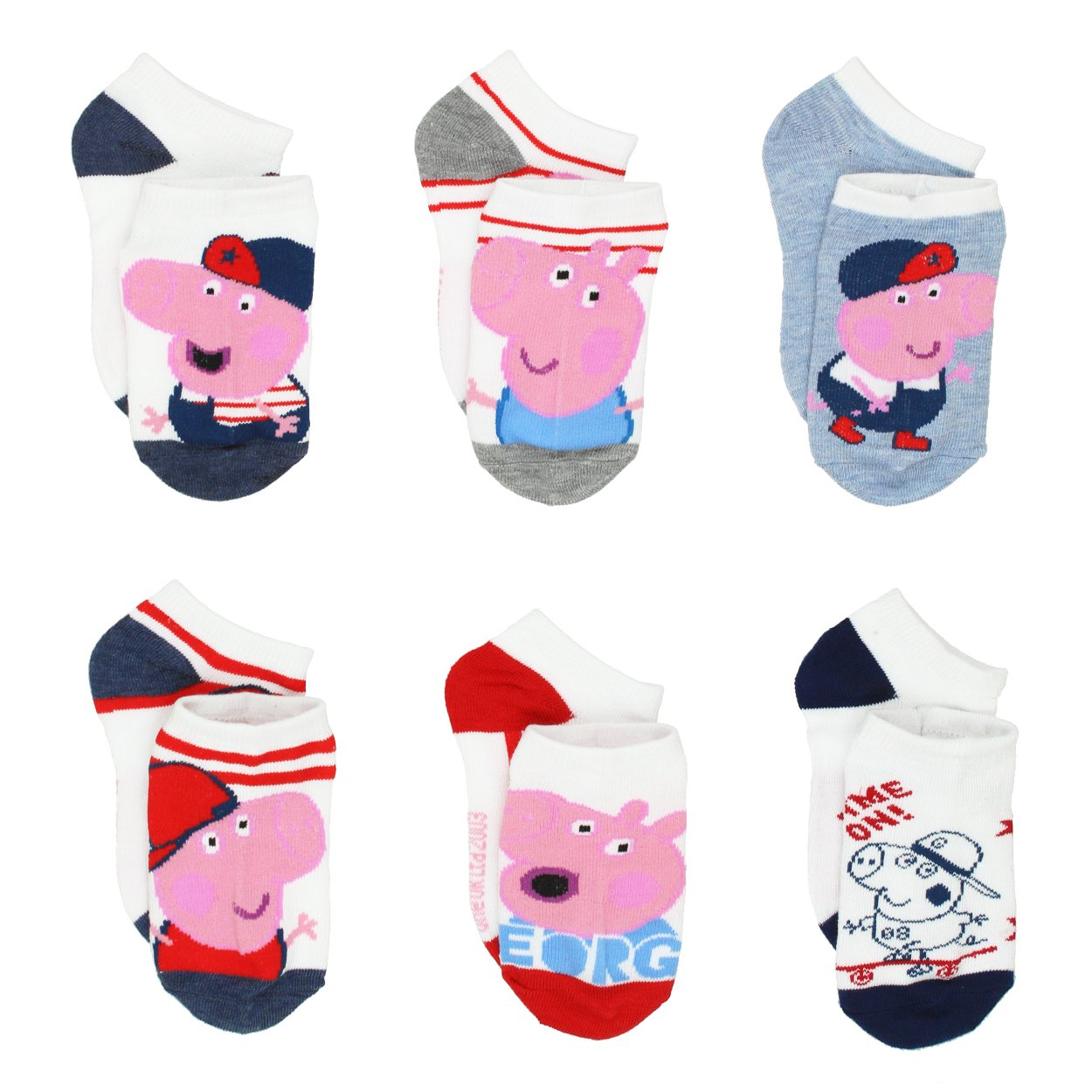Peppa Pig Boys' 6-Pack Crew Socks