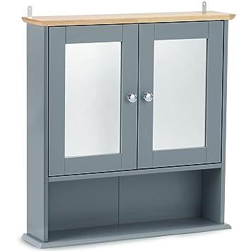 Vonhaus — Armoire de Toilette avec miroirs — Armoire à Pharmacie avec  étagères — Placard Mural pour Salle de Bain Couleur Gris Moderne