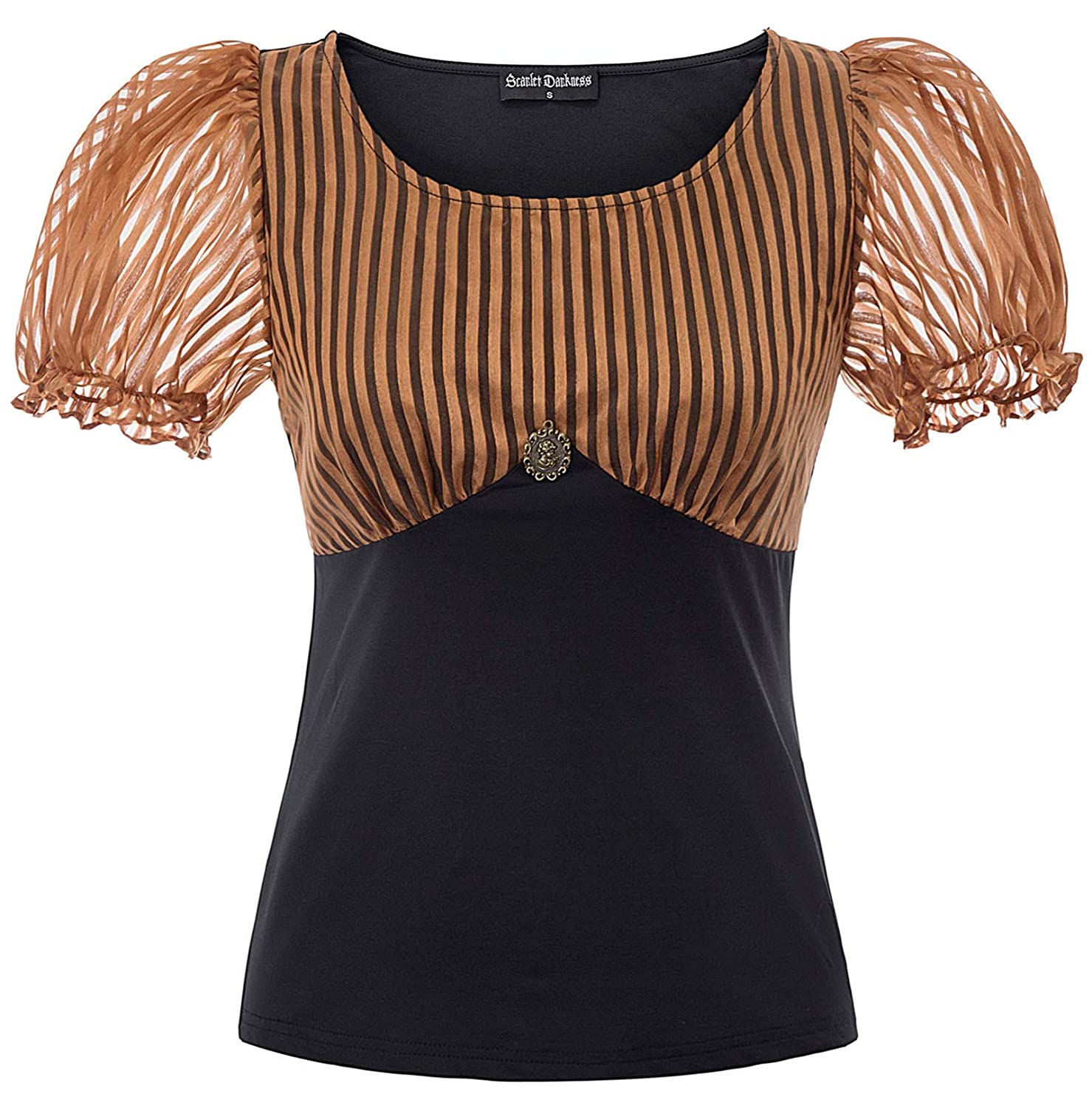 Steampunk Tops | Blouses, Shirts Lady Lace Up Gothic Blouse Renaissance Steampunk Short Sleeve Top $9.99 AT vintagedancer.com