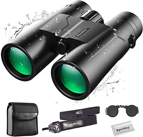 Eyeskey Compact 10X42 Binoculars for Adults Professional Waterproof Fog-Proof Binocular for Bird Watching Easy Focus Twiligght Vision Bright Clear Stable Image