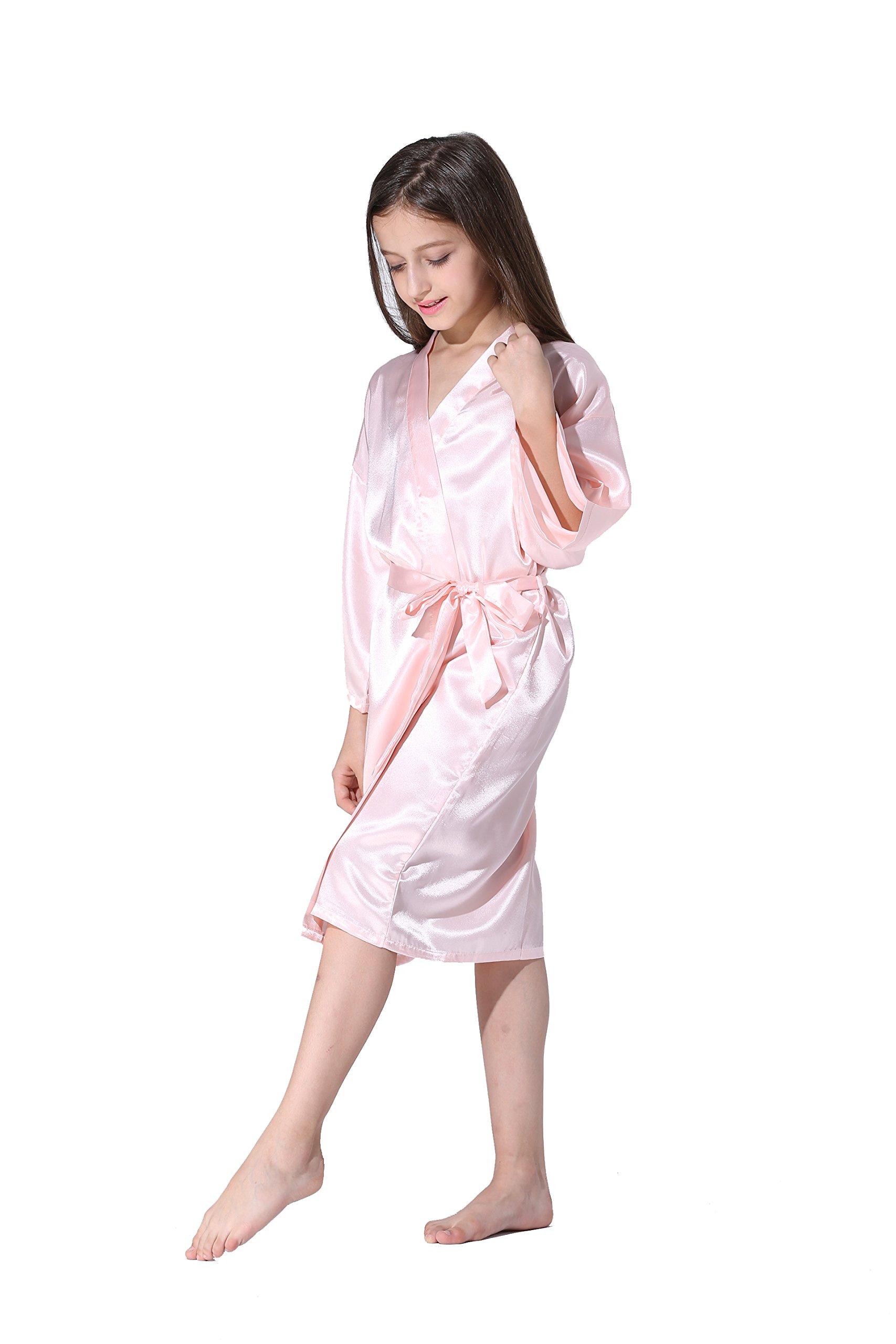 Vogue Forefront Girls  Satin Plain Kimono Robe Bathrobe Nightgown ... 02d62a222