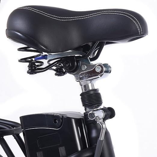 Bicicleta eléctrica plegable batería 36V-10ah Aoma motor LED Carga 110 kg Blanco/Negro (Negro): Amazon.es: Deportes y aire libre