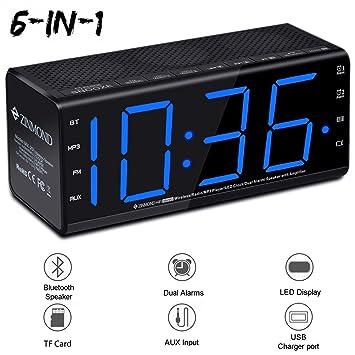 Radio reloj con altavoz Bluetooth, Zinmond 6 en 1 Reloj despertador digital e inalámbrico,