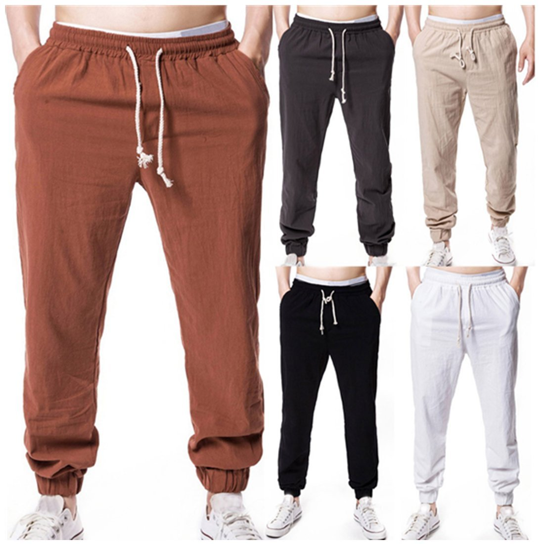 vermers Clearance Deals Linen Mens Pants Summer Solid Elastic Waist Soft Casual Loose Trousers(L, Coffee)