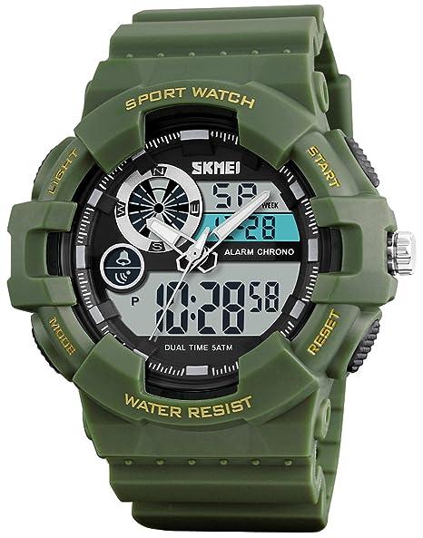 Los hombres reloj de pulsera digital de cuarzo múltiples zona horaria resistente al agua reloj hombre reloj deportivo luz LED relojes: skmei: Amazon.es: ...