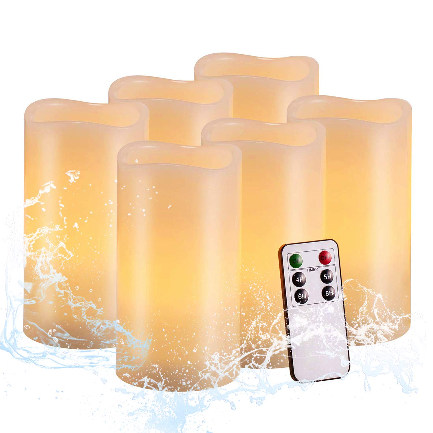 """Flameless Outdoor Waterproof Candles Battery Operated Pillar Real Wax Flickering Electric LED Candle Sets with Remote Control Cycling 24 Hours Timer by Aku Tonpa, 3""""x6"""" Pack of 6"""