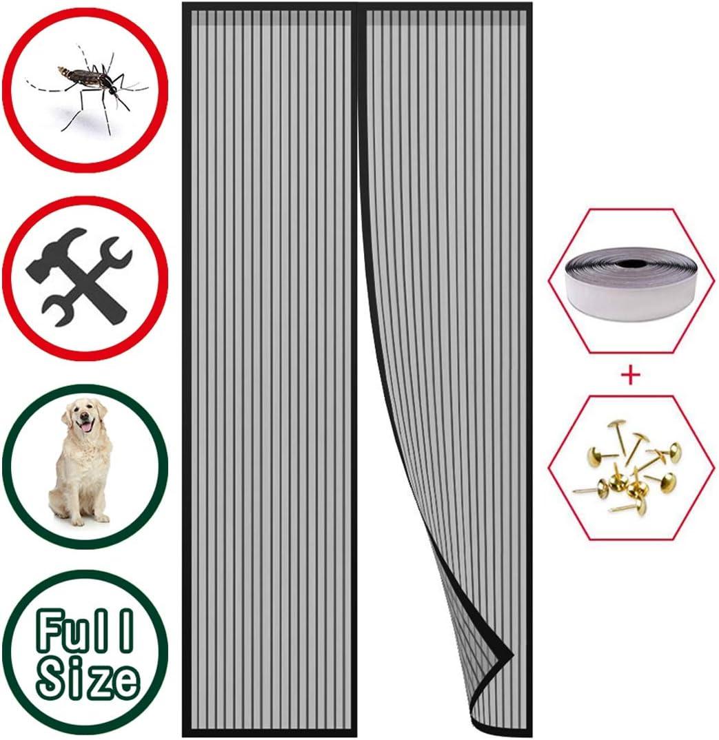 GUOGAI Zanzariera Magnetica per Porte 95x210cm Nero 37x83inch Zanzariere a Rullo Impedendo agli Insetti di Entrare Totalmente Magnetica per Porte di Soggiorno Camera da Letto Casa