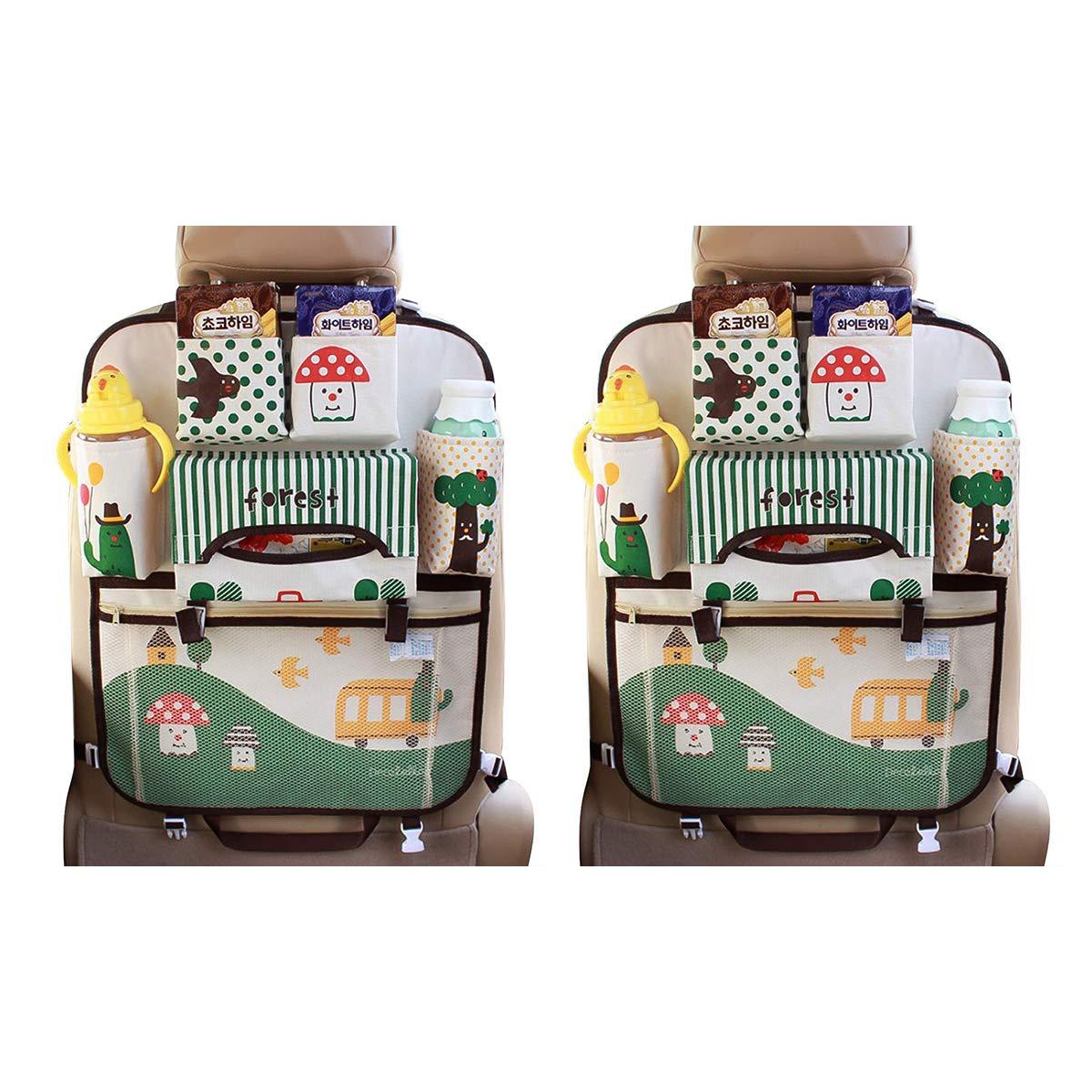 Ergocar Car Organiser Cartoon Kick Mats for Car Kick Mat Car Back Seat Protector Car Seat Organiser with Insulation Bags Hanging Muti-Pockets Storage for Kids Toy Storage Little Girl