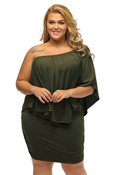 XAKALAKA Womens Plus Size Off Shoulder Layered Dress Bodycon Night Club Mini Dress