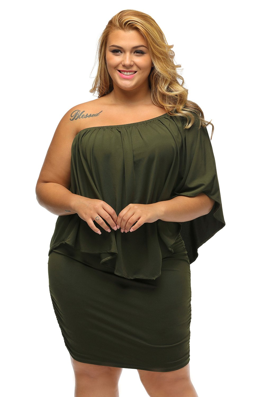 Sidefeel Women Off Shoulder Ruffles Party Mini Dress Medium Green by Sidefeel (Image #2)