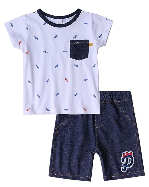 Bebés Niño Algodón Conjuntos de Ropa,Verano Recién Nacido bebé Niño Camiseta Tops + Pantalones