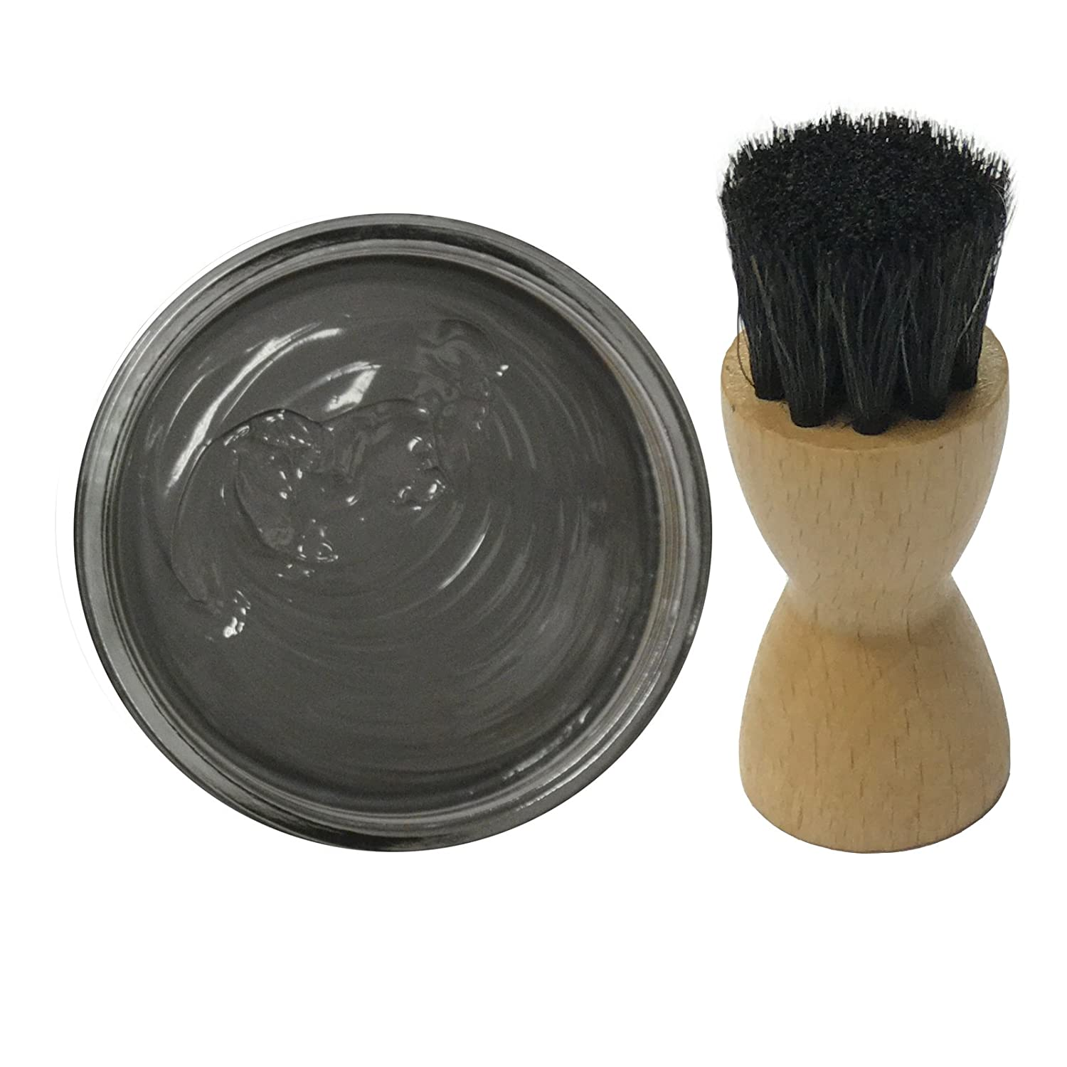 Famaco GREY DARK GRIS Shoe Cream Polish 50ml & Famaco Application Brush