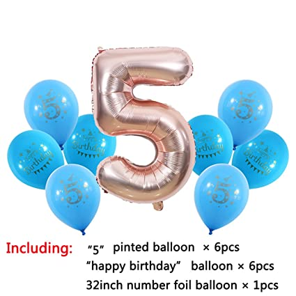 Amazon 1 2 3 4 5 6 7 8 9 Years Old Happy Birthday Balloon Kids 1st Ballon Number Foil Party Globos 5st Blue Toys Games