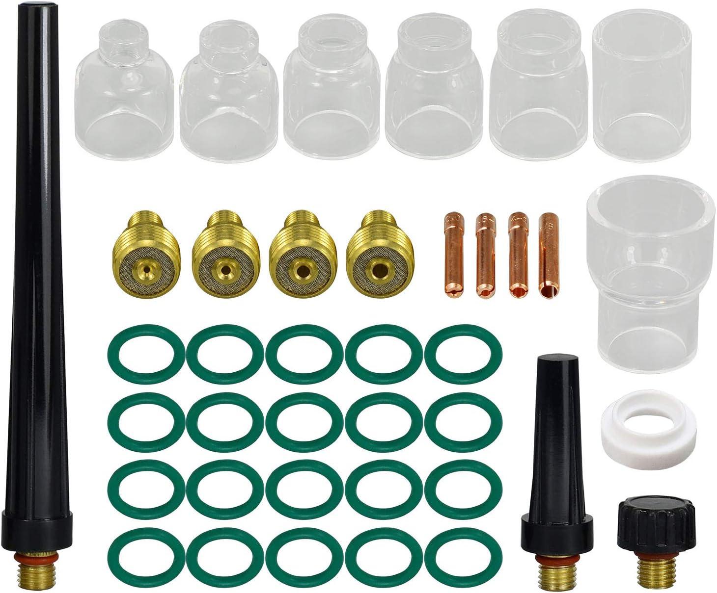 """TIG Gas Lens Collet Body 13N21 45V42 (.040"""" & Ø1.0mm) 13N22 45V43 (1/16"""" & Ø1.6mm) 45V44 13N23 (3/32"""" & Ø2.4mm) 45V45 13N24 (1/8"""" & Ø3.2mm) Pyrex Cup #4 ~ #12 WP 9 20 25 TIG Welding Torch 39pcs - -"""