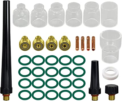RX WELD TIG Stubby Gas Lens Collet Body /& #5#6#7#8 Pyrex Cup Kit for DB SR WP 9