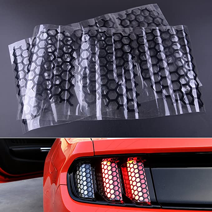 6PCS Honeycomb Style Stickers Cover Rear Tail Light For Ford Mustang 2015-2017