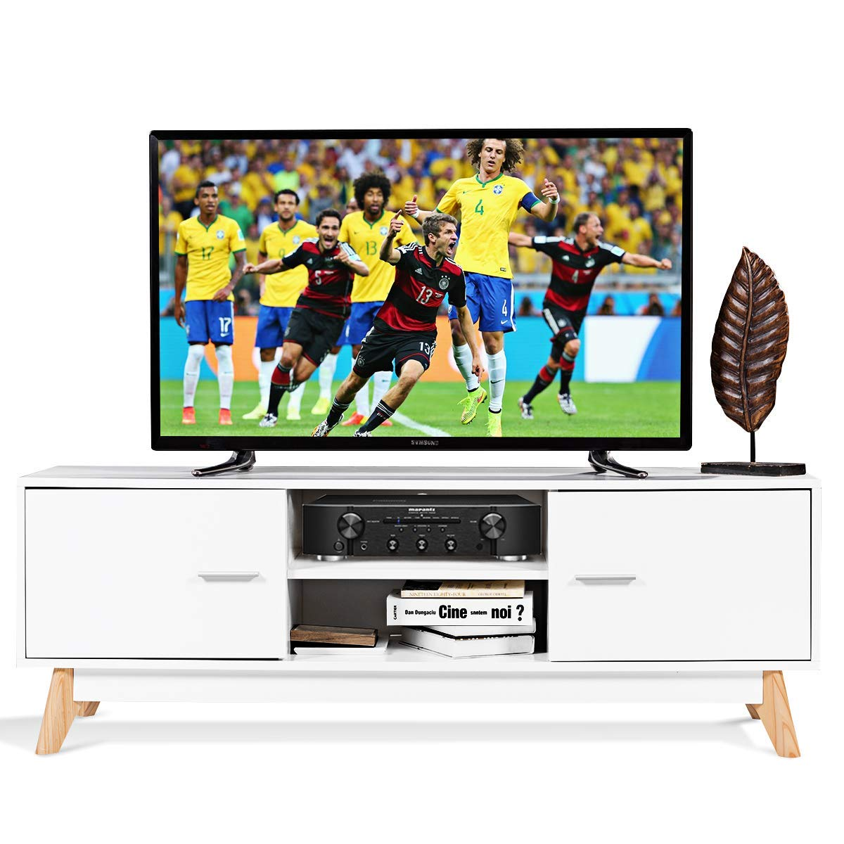 Tangkula TV Stand Modern Wood Multipurpose Organizer Entertainment Media Console Center Home Living Room Furniture Television Stand with 2 Storage Cabinets and 2 Open Shelves, White
