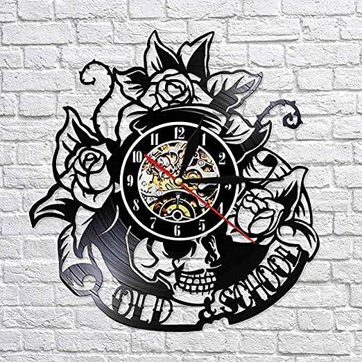 TPFEI Reloj de Pared de Disco de Vinilo Old School Reloj de Disco ...