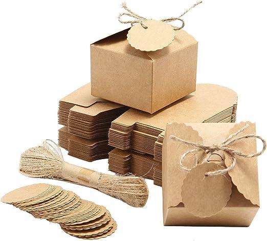 SurePromise - 50 cajas de papel kraftpaper para regalo de boda, cumpleaños, fiestas, caramelos creativos con etiquetas de cuerda de yute: Amazon.es: Hogar