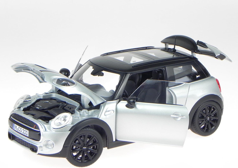 Norev Mini Cooper S 2015 183110 - Maqueta de coche (escala 1:18), color blanco, plateado y negro