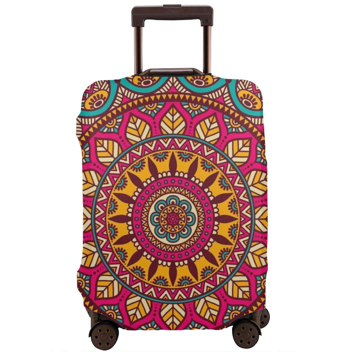 Mandala Floral Elastic Travel Luggage Cover,Double Print Fashion Washable Suitcase Protector Cover Fits 18-32inch Luggage