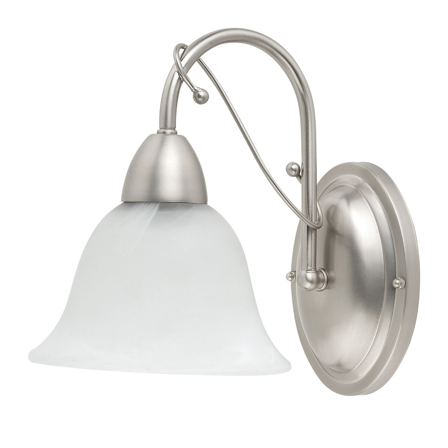 Globe Candice One-Light Downward Wall Sconce, Brushed Steel with Alabaster Globes #61064