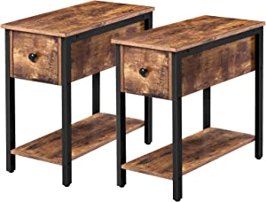 HOOBRO Set of 2 Narrow End Table, 2-Tier Nightstand with Drawer and Shelf, Side Table for Small Spaces, Stable and Sturdy, Wood Look Accent Table in Bedroom, Rustic Brown BF04BZP201