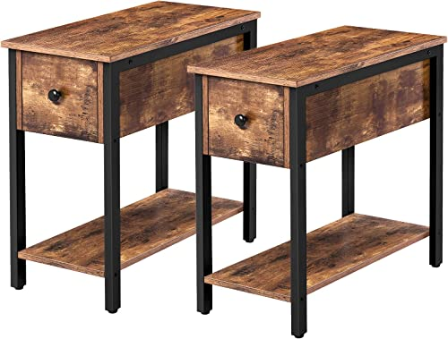 HOOBRO Set of 2 Narrow End Table