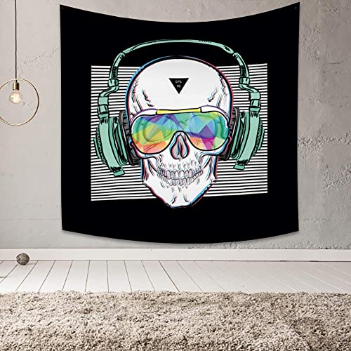 Yongto 70.9×70.9 Inches Creative Style Tapestry, Electronic Music Earphone Cool Sunglasses Skeleton Head, Art Wall Hanging Mural for Bedroom Living Room Dorm Widely Use Home Decoration