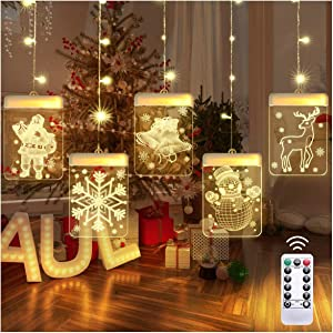 LED Christmas String Curtain Lights, Window Curtain Christmas Decoration Lights with 8 Flashing Modes, Indoor Xmas Ornaments Décor USB Powered with Remote Control for Home Bedroom Store, Warm White