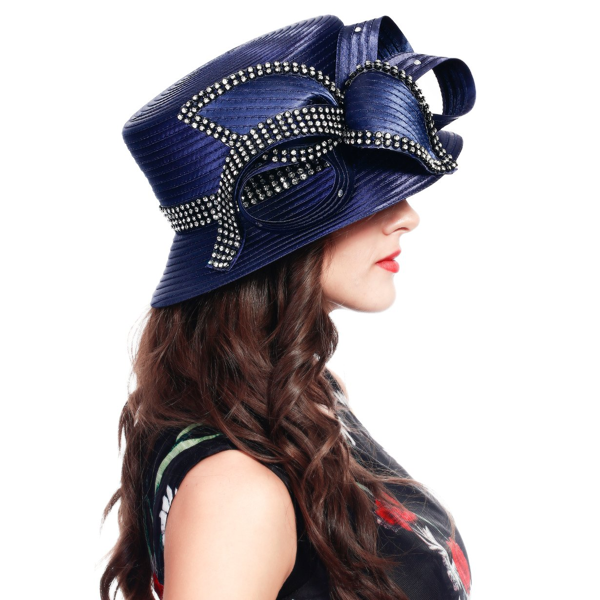 FORBUSITE Stripe Ribbon Asymmetry Church Derby Dress Hat SD707 (Navy) by FORBUSITE (Image #3)