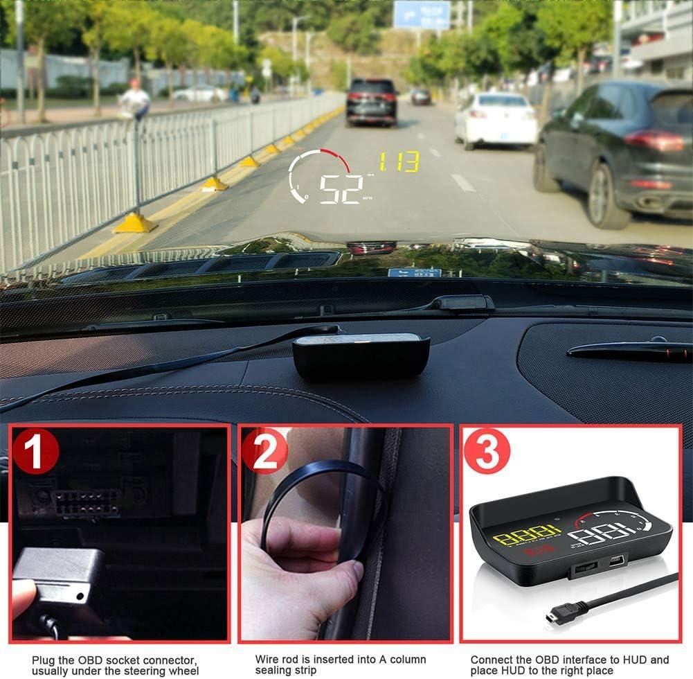 Hlyjoon Interieur Head Up Display M10 HUD ODB2 System Universalfahrzeug 3,5 Zoll Head Up Display Tacho