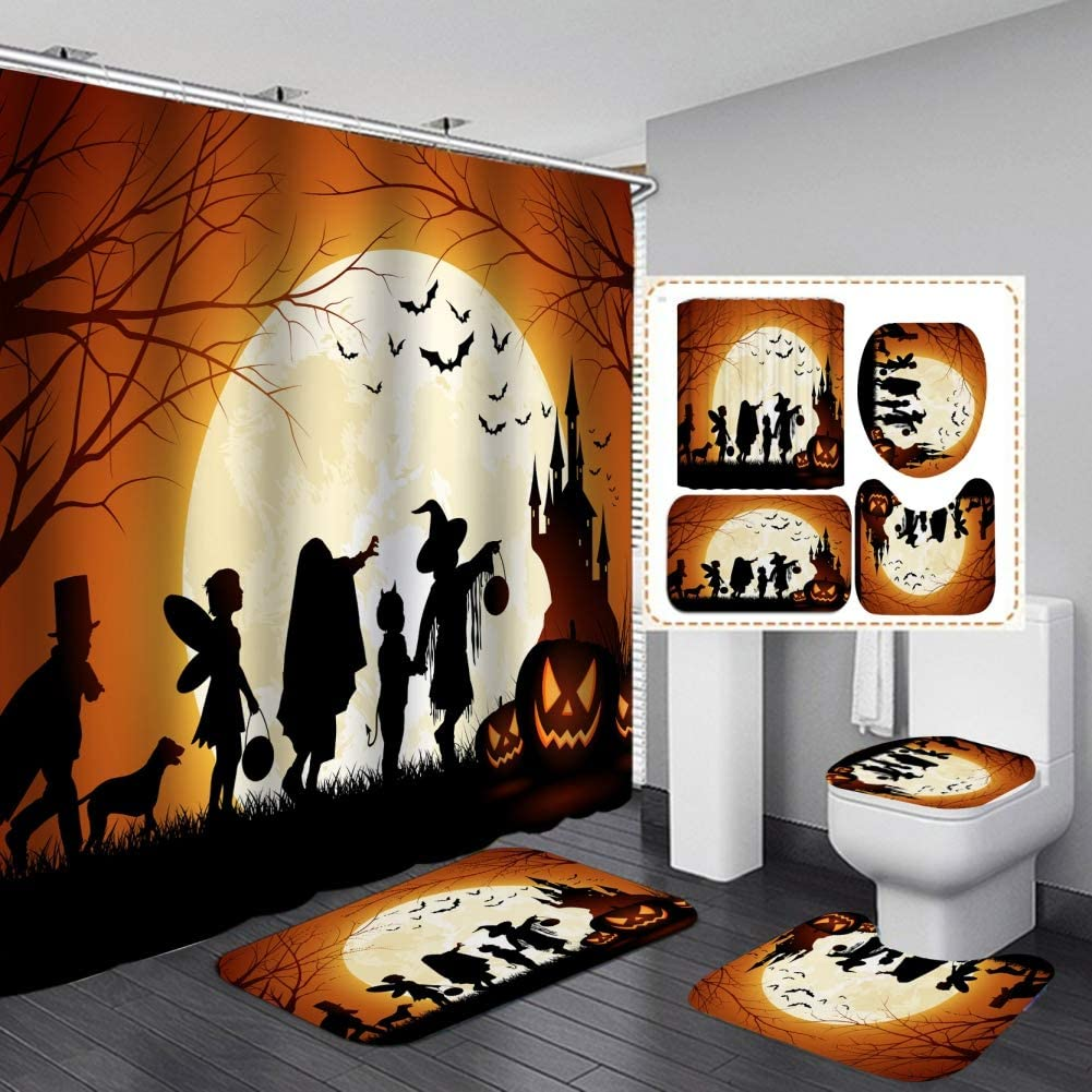 Cartoon Cute Halloween Shower Curtain Sets, Gerneric 71 Inch X 71 Inch Halloween Bathroom Decorations Set -Shower Curtain with Rugs,Toilet Lid Cover,Bath Mat - Halloween Bathroom Decor with 12 Hooks