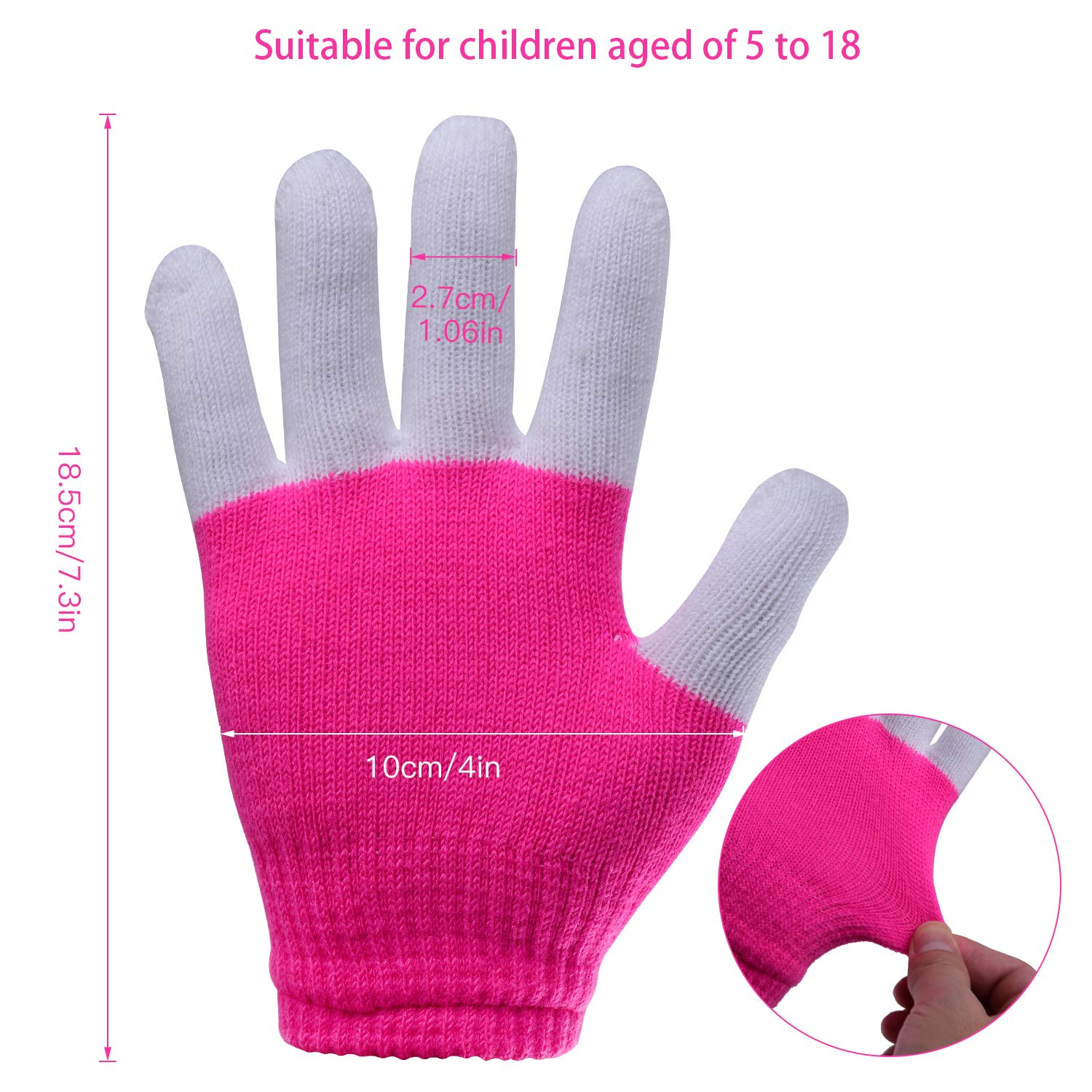 Yostyle Children LED Finger Light Up Gloves,Small 3 Colors 6 Modes Flashing LED Warm Gloves Colorful Glow Flashing Novelty Toys for Kids Boys Girls (Pink)