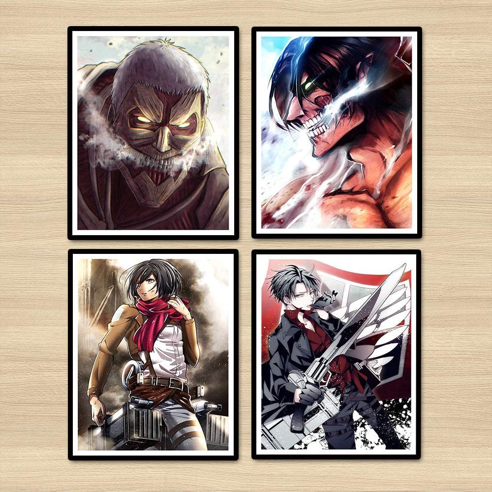 Attack on Titan Anime Posters Canvas Art Prints for Wall Decoration,8 x 10 Inches,Set of 4,No Frame