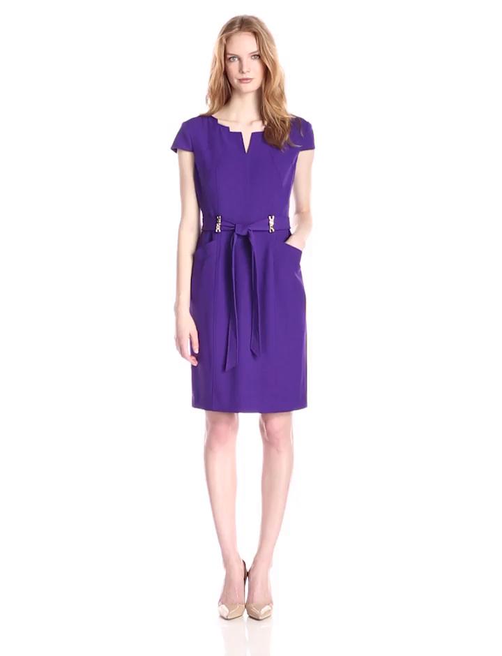Ellen Tracy Women's Cap Sleeve V-Neck Belted Sheath Dress, Purple, 6
